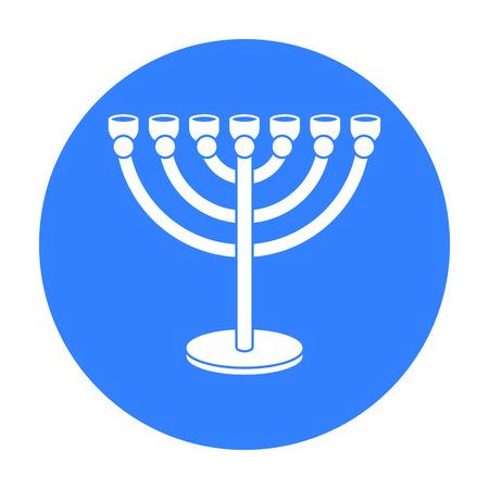 Menorah icon in black style isolated on white background. Religion symbol stock vector illustration. Vektorové ilustrace