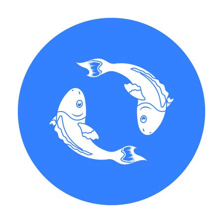 koi: Koi fishes icon in black style isolated on white background. Religion symbol stock vector illustration.