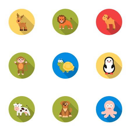 Animals set icons in flat style. Big collection of animals vector symbol stock illustration