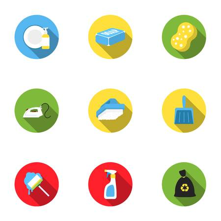 Cleaning set icons in flat style. Big collection of cleaning vector symbol stock illustration