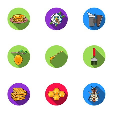 Apiary set icons in flat style. Big collection of apiary vector symbol stock illustration
