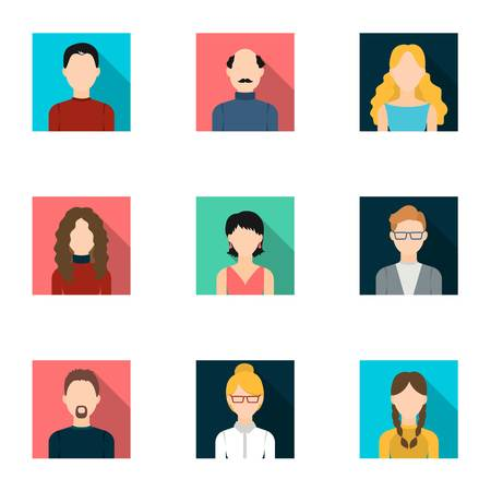 bald girl: Avatar set icons in flat style. Big collection of avatar vector symbol stock illustration