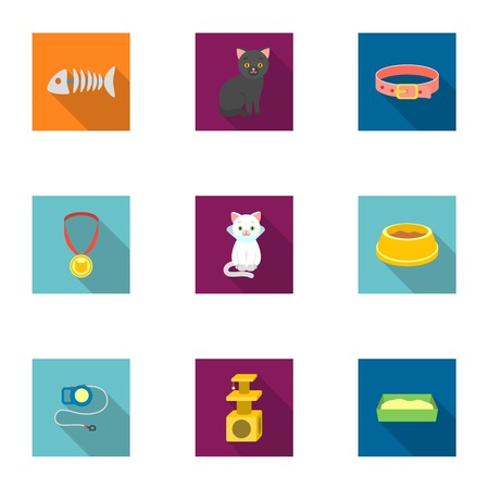 parody: Cat equipment set icons in flat style. Big collection of cat equipment vector symbol stock illustration