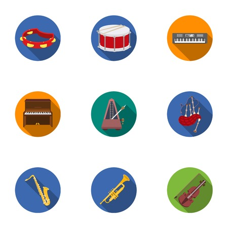 metronome: Musical instruments set icons in flat style. Big collection of musical instruments vector symbol stock illustration