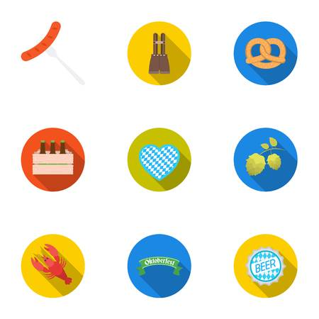 Oktoberfest set icons in flat style. Big collection of Oktoberfest vector symbol stock illustration Illustration