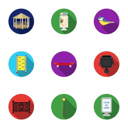 parus: Park set icons in flat style. Big collection of park vector symbol stock illustration