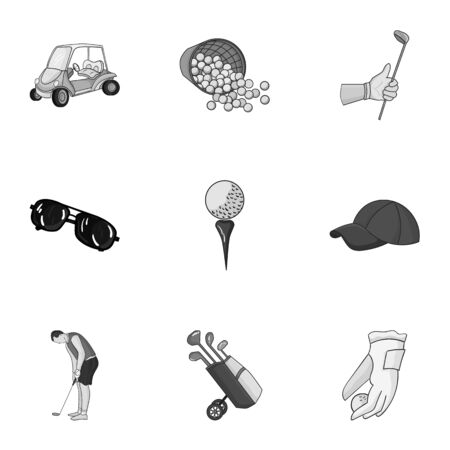 Golf club set icons in monochrome style. Big collection of golf club vector symbol stock illustration