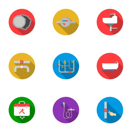 heated: Plumbing set icons in flat style. Big collection of plumbing vector symbol stock illustration Illustration
