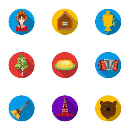 harmonic: Russia country set icons in flat style. Big collection of Russia country vector symbol stock illustration