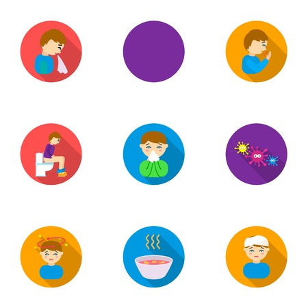 Sick set icons in flat style. Big collection of sick vector symbol stock illustration