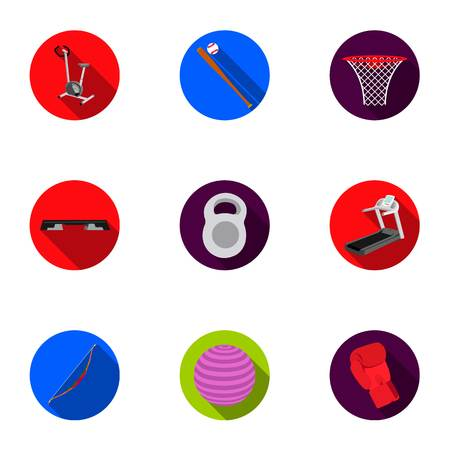 flippers: Sport and fitness set icons in flat style. Big collection of sport and fitness vector symbol stock illustration