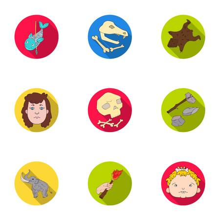 Stone age set icons in flat style. Big collection of stone age vector symbol stock illustration