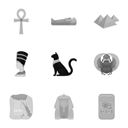 obelisk: Ancient Egypt set icons in monochrome style. Big collection of ancient Egypt vector symbol stock illustration