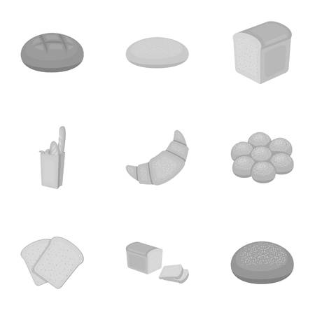 french toast: Bread set icons in monochrome style. Big collection of bread vector symbol stock illustration Illustration