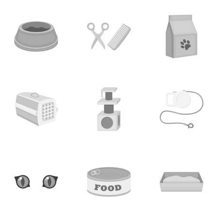 parody: Cat equipment set icons in monochrome style. Big collection of cat equipment vector symbol stock illustration Illustration