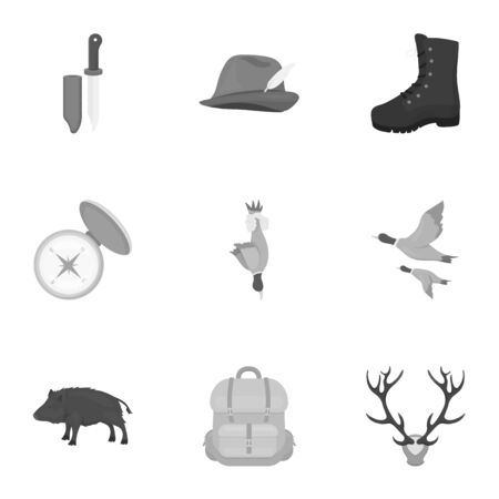 hip flask: Hunting set icons in monochrome style. Big collection of hunting vector symbol stock illustration Illustration