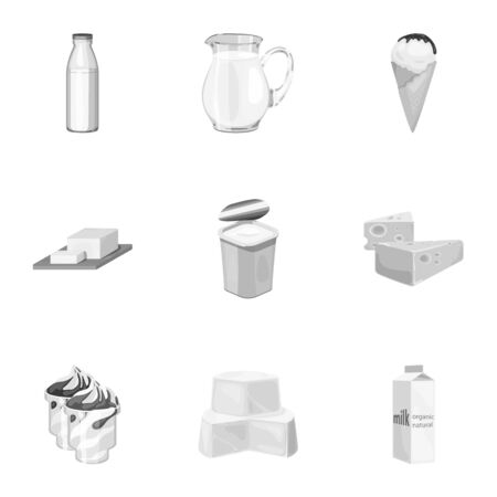 Milk product and sweet set icons in monochrome style. Big collection of milk product and sweet vector symbol stock illustration
