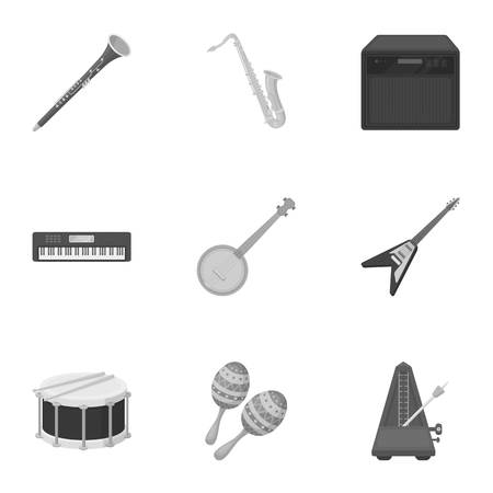 metronome: Musical instruments set icons in monochrome style. Big collection of musical instruments vector symbol stock illustration