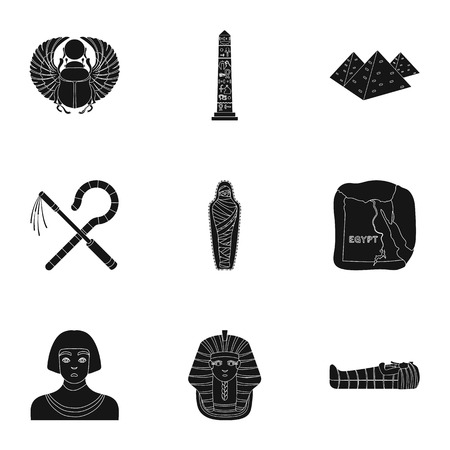 obelisk: Ancient Egypt set icons in black style. Big collection of ancient Egypt vector symbol stock illustration