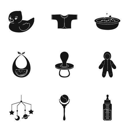 romper: Baby born set icons in black design. Big collection of baby born vector symbol stock illustration
