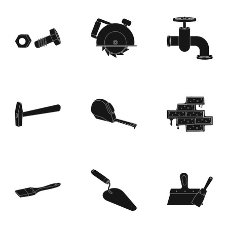 putty knives: Build and repair set icons in black design. Big collection of build and repair vector symbol stock illustration Illustration