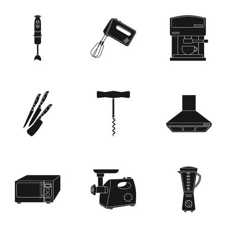 meat  grinder: Kitchen set icons in black style. Big collection of kitchen vector symbol stock