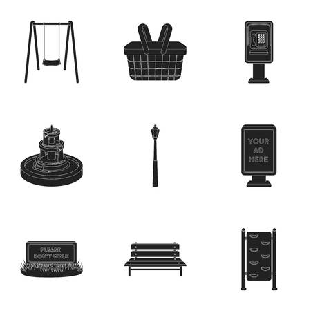 parus: Park set icons in black style. Big collection of park vector symbol stock Illustration