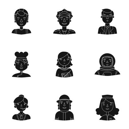black people: People of different profession set icons in black design. Big collection of people of different profession vector symbol stock illustration