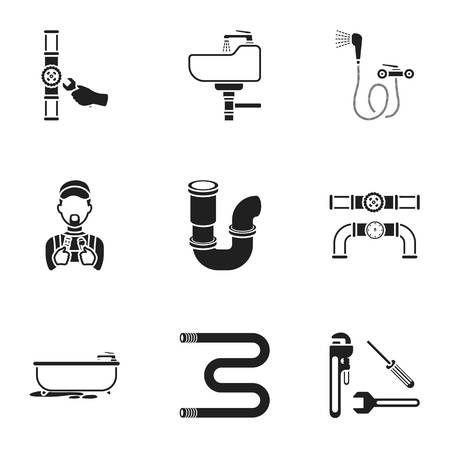 Plumbing set icons in black style. Big collection of plumbing vector symbol stock Illustration