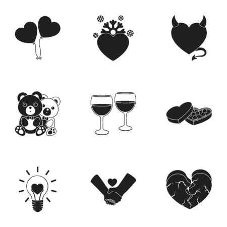 angelic: Romantic set icons in black style. Big collection of romantic vector symbol stock