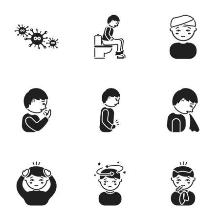io: Sick set icons in black style. Big collection io sick vector symbol stock