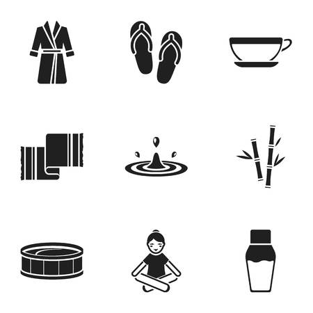 elixir: Spa set icons in black style. Big collection of spa vector symbol stock