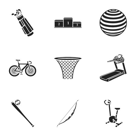 flippers: Sport and fitness set icons in black style. Big collection of sport and fitness vector symbol stock
