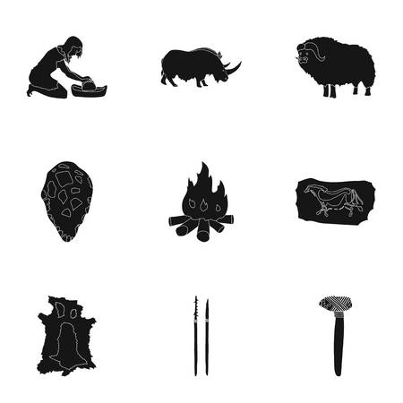 truncheon: Stone age set icons in black design. Big collection of stone age vector symbol stock illustration Illustration