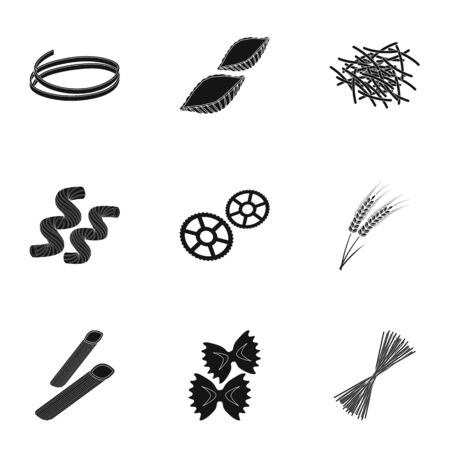 Types of pasta set icons in black design. Big collection of types of pasta vector symbol stock illustration