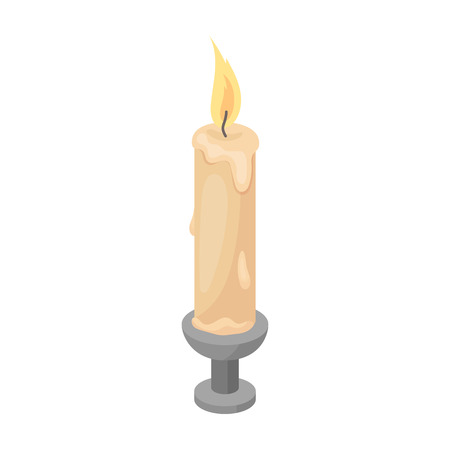 Candle icon in cartoon style isolated on white background. Funeral ceremony symbol stock vector illustration.