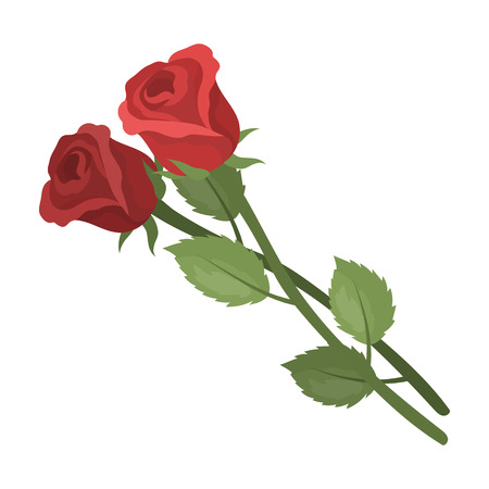 Two roses icon in cartoon style isolated on white background. Funeral ceremony symbol stock vector illustration. Иллюстрация