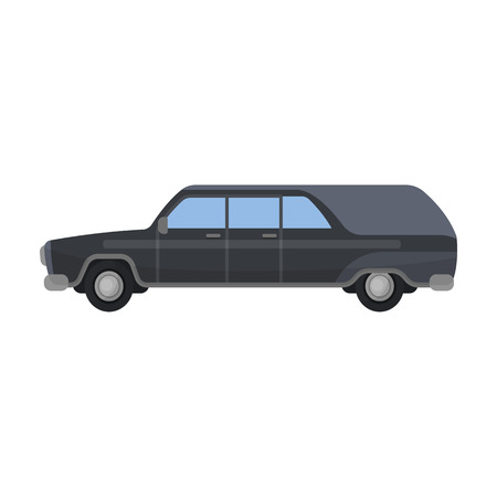 Hearse icon in cartoon style isolated on white background. Funeral ceremony symbol stock vector illustration. Illustration