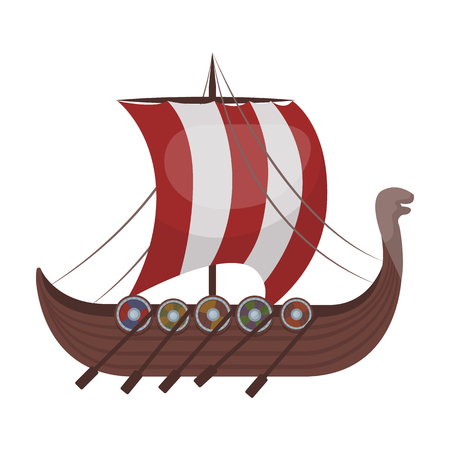 Vikings ship icon in cartoon style isolated on white background. Vikings symbol stock vector illustration.