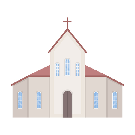 Church icon in cartoon style isolated on white background. Funeral ceremony symbol stock vector illustration. Vettoriali