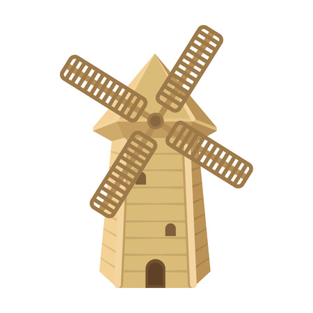 Spanish mill icon in cartoon style isolated on white background. Spain country symbol stock vector illustration.
