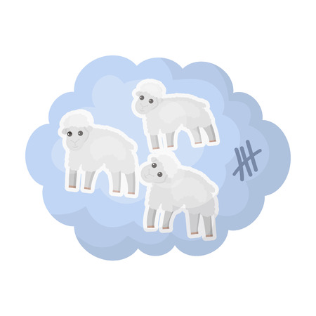Count sheep icon in cartoon style isolated on white background. Sleep and rest symbol stock vector illustration. Illustration