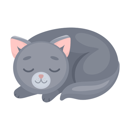 Sleeping cat icon in cartoon style isolated on white background. Sleep and rest symbol stock vector illustration.