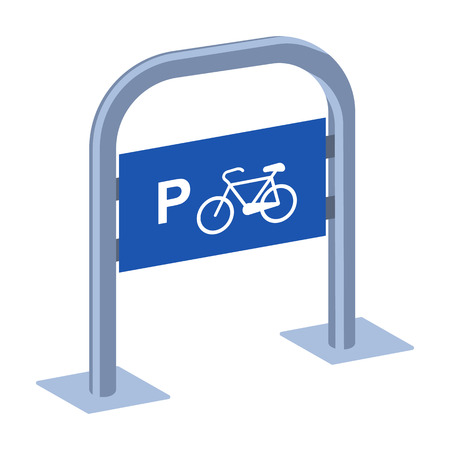 Bicycle parking icon in cartoon style isolated on white background. Parking zone symbol stock vector illustration. Ilustrace