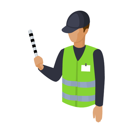 valet: Parking attendant icon in cartoon style isolated on white background. Parking zone symbol stock vector illustration.
