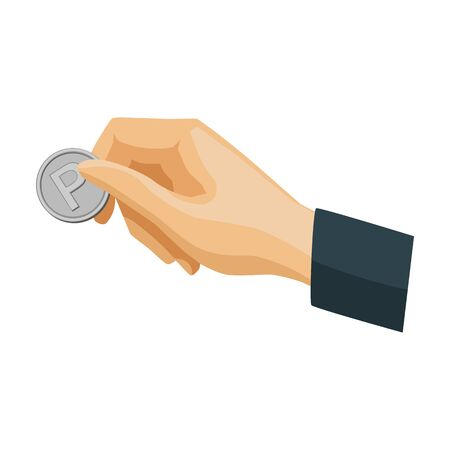Hand holding coin for parking meter icon in cartoon style isolated on white background. Parking zone symbol stock vector illustration.