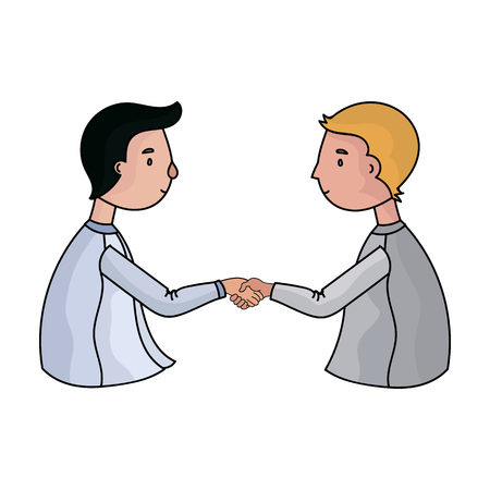 Handshaking of businessmen icon in cartoon style isolated on white background. Conference and negetiations symbol stock vector illustration.