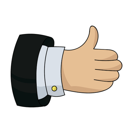 Thumb up icon in cartoon style isolated on white background. Conference and negetiations symbol stock vector illustration.