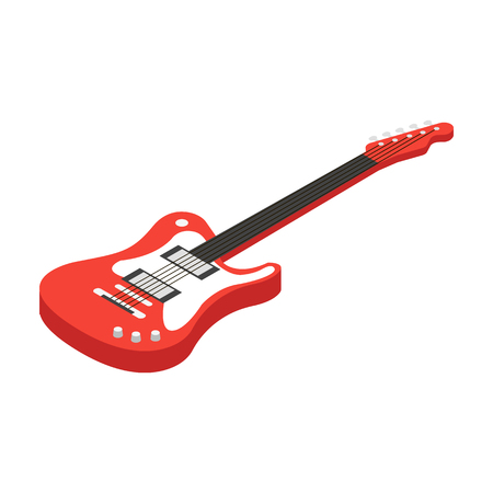 Electric guitar icon in cartoon style isolated on white background. Musical instruments symbol stock vector illustration. Illustration