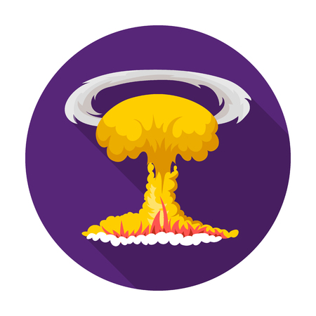 Nuclear explosion icon in flat style isolated on white background. Explosions symbol stock vector illustration.